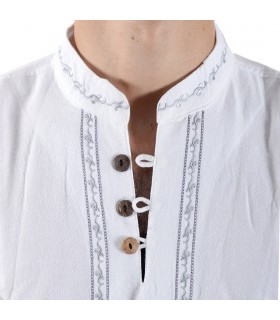 Cotton - neck white shirt embroidered - various sizes