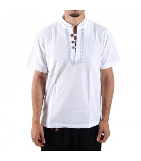 Shirt white cotton-collar embroidered-various sizes