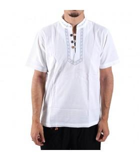 Shirt white cotton-collar embroidered-various sizes