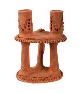 Porta candele fango - per 2 candele - realizzati e decorati a mano - 20cm
