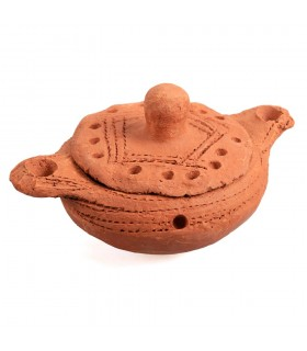 African mud - with lid - censer Brazier - craftsman - 10 cm
