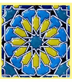 Imán Mosaico Andalusí - Cerámica Esmaltada - Modelo 4 - 6 cm