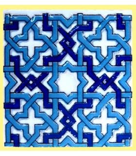 Imán Mosaico Andalusí - Cerámica Esmaltada - Modelo 6 - 6 cm