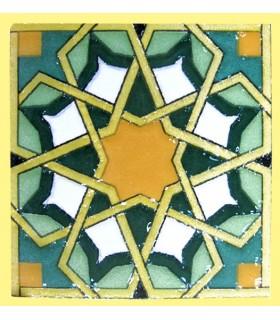 Imán Mosaico Andalusí - Cerámica Esmaltada - Modelo 7 - 6 cm