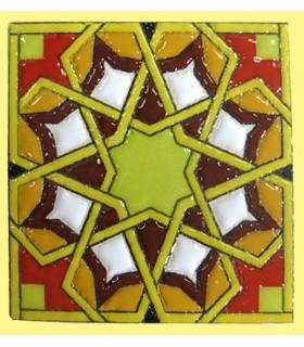 Imán Mosaico Andalusí - Cerámica Esmaltada - Modelo 8 - 6 cm