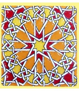 Imán Mosaico Andalusí - Cerámica Esmaltada - Modelo 9 - 6 cm