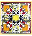Andalusian Mosaic Magnet - Enameled Ceramic - Model 11 - 6 cm