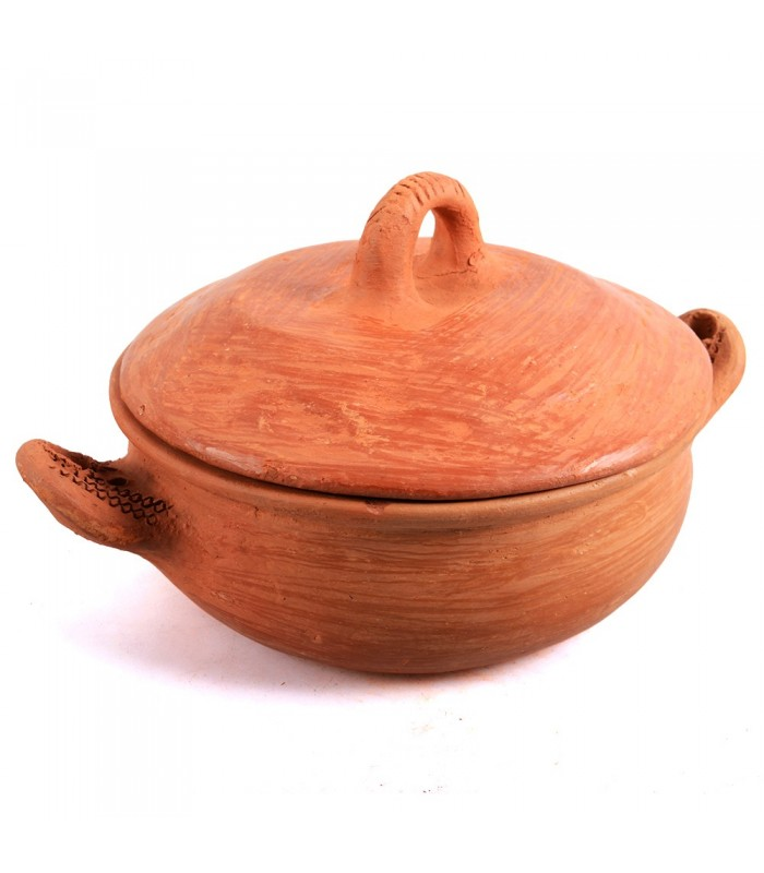 Clay pot - healthy cooking - 100% handmade - 21'5 cm