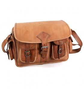 Sac en cuir à la main - 6 poches - 2 couleurs - Handmade