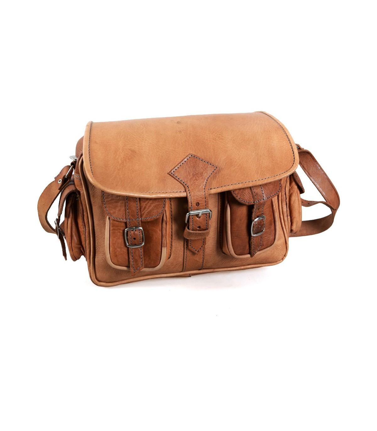 04a230833 Bolsa em couro feito à mão - 6 bolsos - 2 Cores - Handmade