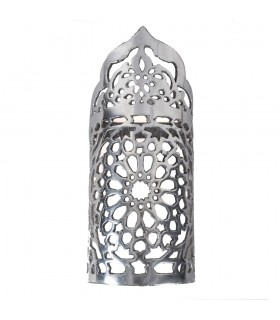 Aplique Pared Alumino Calado - Diseño Alhambra - Acabado Pulido - 20 cm