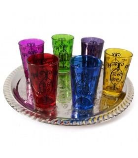 Juego 6 Vasos de Té Grabados - Filigrana Henna - Diseño Forja