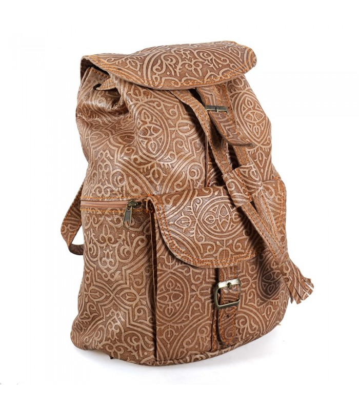 Backpack leather embossed-engraved Arabic-2 colors-6 compartments