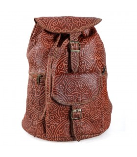 Backpack leather embossment - engraved Arabic - 2 colors - 6 compartments