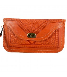 Portfolio skin with handle - embossed leather - various colors - 2 sizes