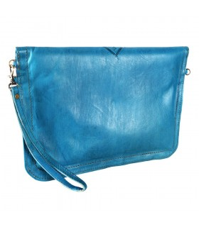 Bag Handmade Leather - hand or hanging - 2 compartments - snap - various colors - 31 cm