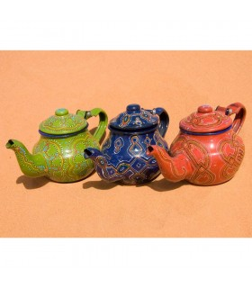 Mauritanian teapot painted hand - 3 colors - complex drawing