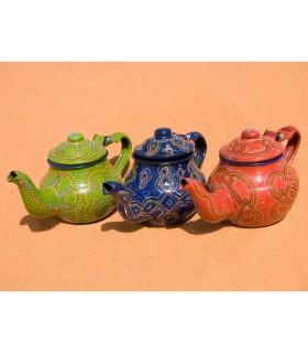 Théière mauritanien peint main - 3 couleurs - dessin complexe