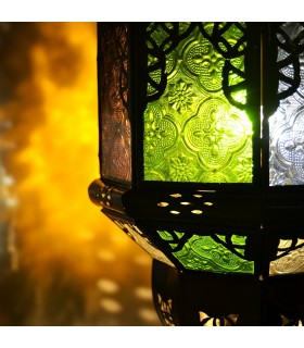 Lámpara Arcos Andalusís - Cristales Colores - 50 cm - Cadena y Florón
