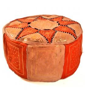 Puff Bicolor Piel - Diseño Mosáico Arabe - Artesano - Modelo Laun