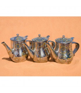 Mauritanian silver teapot painted by hand - drawing complex