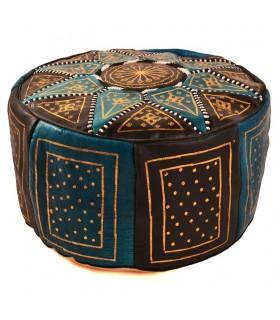 Puff Bicolor Piel - Diseño Mosáico Arabe - Artesano - Modelo Aswad