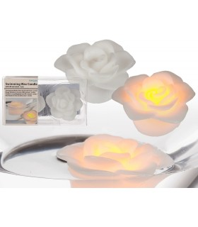 Vela Led Flotante - Diseño Rosa - Luz Naranja - 2 und