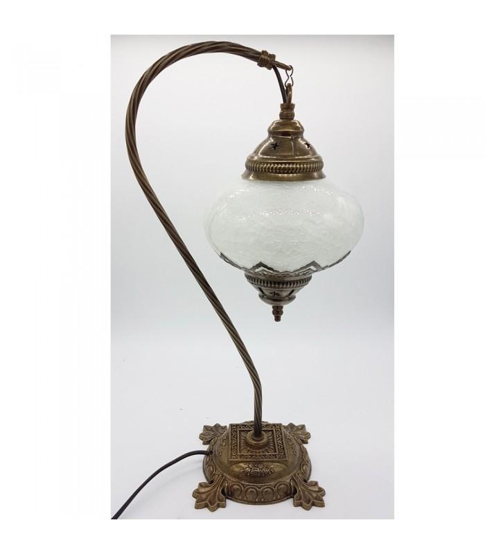 lampara mesita noche cristal craquelado modelo kasab - Lamparas De Mesa De Noche