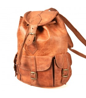 Handmade Leather Backpack - 4 Compartments - Model Beldi