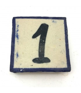 Números de Azulejo Azul -  Artesanal - 5 x 5 cm - Modelo Sarka