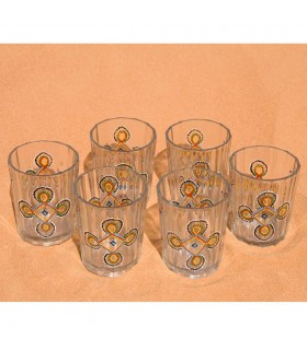 Game 6 glasses painted Mauritanian tea by hand - drawing complex