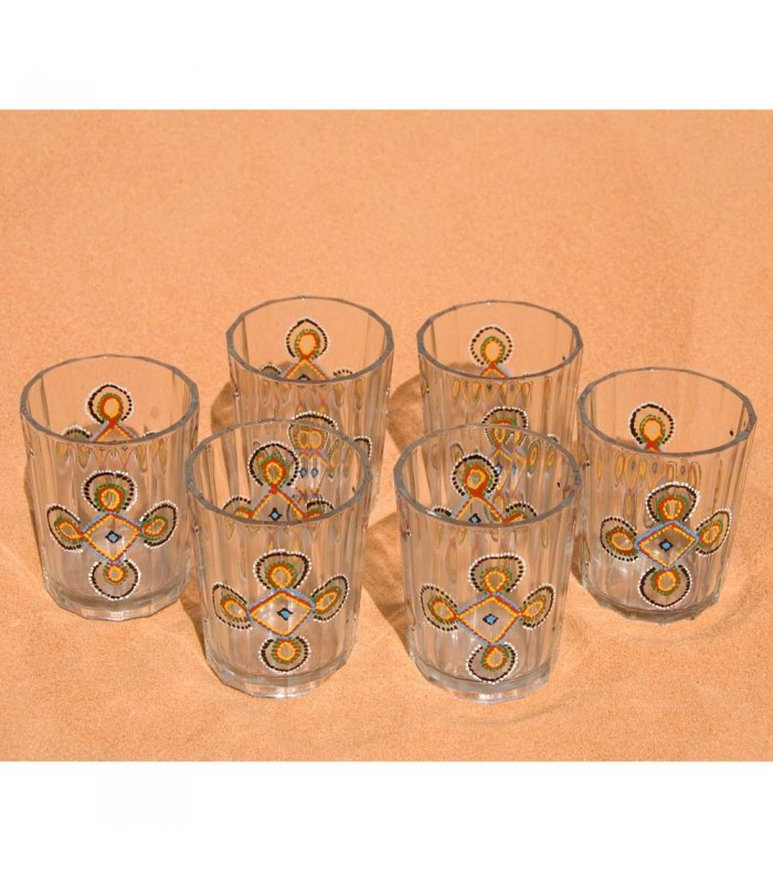 Juego 6 Vasos De Te Mauritanos Pintados a Mano - Dibujo Complejo