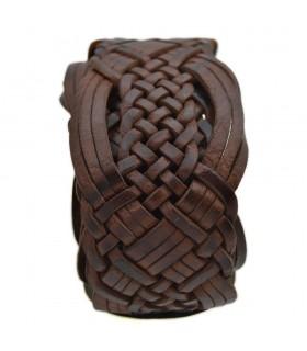 Cintura intrecciata in pelle con intarsio in osso - alpaca - 95 cm - modello Adham