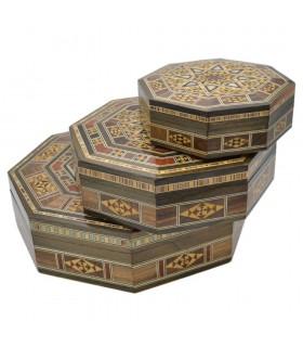 Set 3 Octagonal Boxes - SYRIA Inlay - Model DAMASCO
