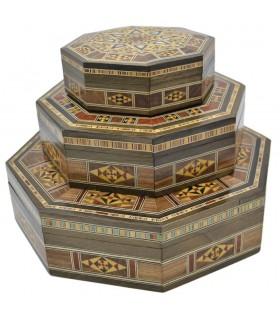 Juego 3 Cajas Octogonales - Taracea S I R I A - Modelo D A M A S C O