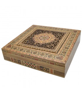 Caja Cuadrada Taracea Siria - Tapa Celosia Corte Por Laser - 30 cm