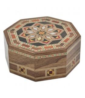 Caja Taracea Siria Octogonal - Madera y Nacar - 8 cm - Modelo Homs
