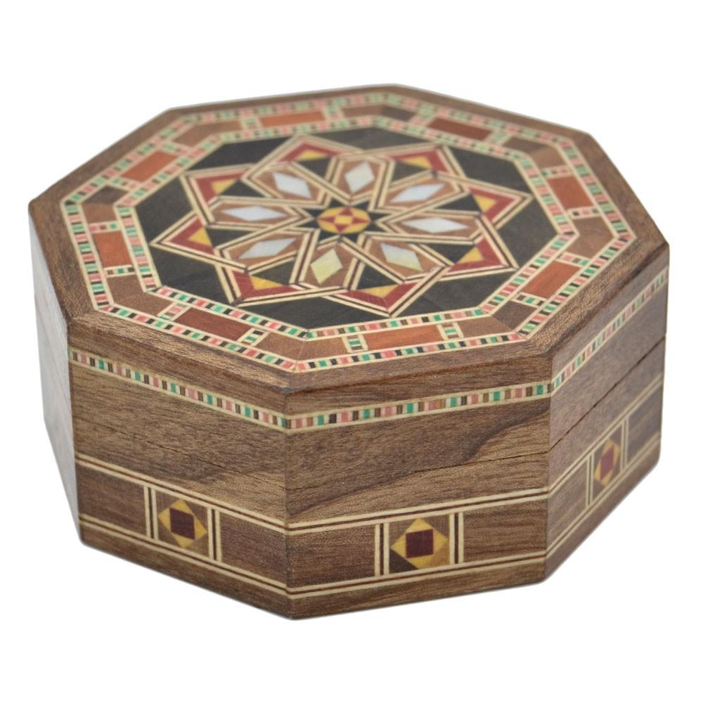 Caja Taracea Siria Octogonal Madera Y Nacar 8 Cm Modelo Homs  # Muebles Taracea