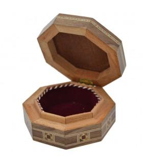 Syria Octagonal Taracea Box - Wood and Nacre - 8 cm - Homs Model