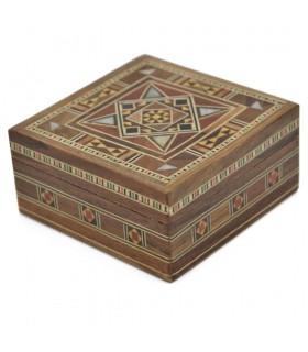 Square Box Taracea Syria - Wood and Nacre - 8 cm - Palmira Model