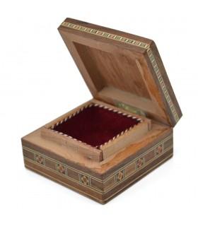 Caja Cuadrada Taracea Siria - Madera y Nacar - 8 cm - Modelo Palmira
