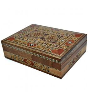 Caja Rectángular Taracea Siria - Diseño Mosáico - Modelo Latakia - 20 cm