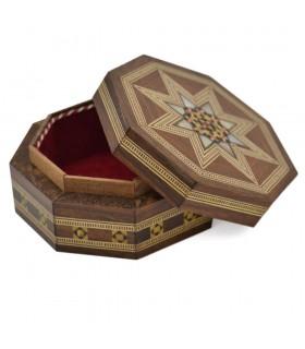 Caja Octogonal Taracea Siria - Diseño Mosáico - Modelo Al Raqa - 9 cm