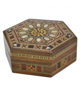 Caja Hexagonal Taracea Siria - Diseño Mosáico - Modelo Hama 10 cm