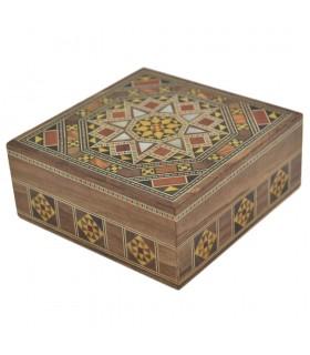 Caja Taracea Siria Cuadrada - Decoracion Estrella - 11 cm