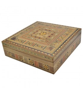 Square Syria Taracea Box - Wood and Nacre Decoration - 25 cm
