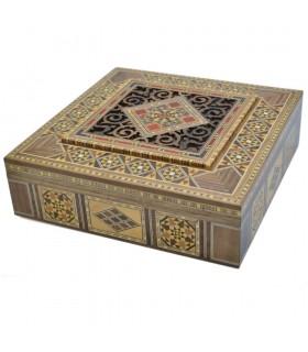 Caja Taracea Cuadrada  Siria - Tapa Celosia Corte Por Laser - 25cm