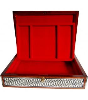 Caixa de jóias de veludo grande de marchetaria - bandeja - Egito - novidade