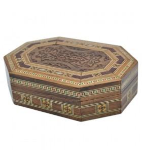 Caja Taracea Siria Octogonal - Tapa Madera Tallada- 16 cm