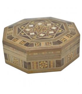 Caja Taracea Octogonal Siria - Tapa Decorado Geometrico- 15.5 cm